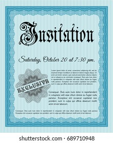 Light blue Formal invitation. Elegant design. With great quality guilloche pattern. Detailed.
