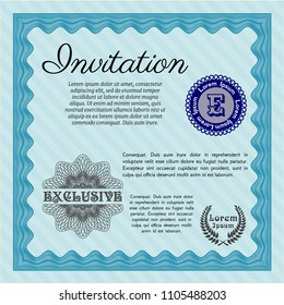 Light blue Formal invitation. With great quality guilloche pattern. Detailed. Money Pattern.