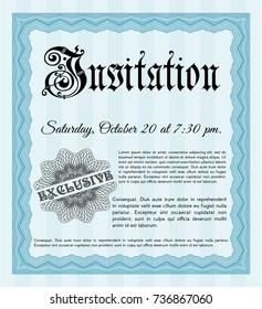 Light blue Formal invitation template. Vector illustration. Printer friendly. Money design.