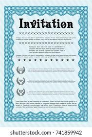 Light blue Formal invitation template. Modern design. With linear background. Vector illustration.