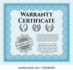 Light blue Formal Warranty Certificate template. Customizable, Easy to edit and change colors. With complex background. Superior design.