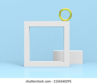 Light blue geometric scene with ring, hollow frame and cuboid