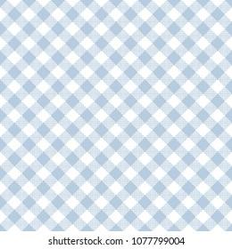 Light Blue Gingham Seamless Pattern - Diagonal pale light blue and white gingham seamless pattern