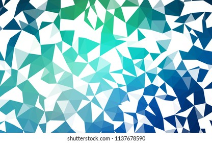 Light Blue, Green vector abstract polygonal template. Glitter abstract illustration with an elegant triangles. Template for cell phone's backgrounds.