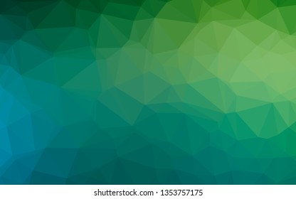 Light Blue, Green vector abstract polygonal layout. Geometric illustration in Origami style with gradient. Triangular pattern for your business design.