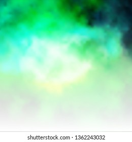 Light Blue, Green vector backdrop with cumulus. Shining illustration with abstract gradient clouds. Beautiful layout for uidesign.