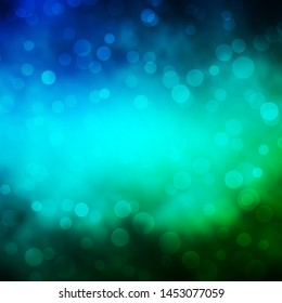Light Blue, Green vector background with circles. Abstract decorative design in gradient style with bubbles. Pattern for websites, landing pages.