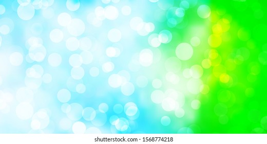 Light Blue, Green vector background with spots. Colorful illustration with gradient dots in nature style. Design for your commercials.