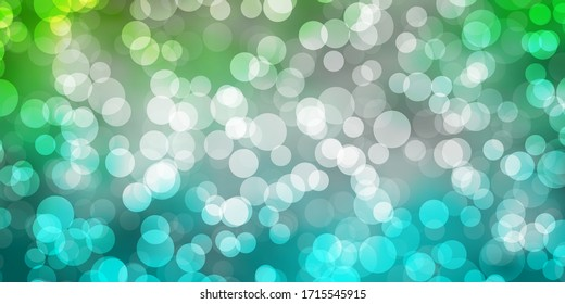 Light Blue, Green vector background with bubbles. Colorful illustration with gradient dots in nature style. Pattern for business ads.