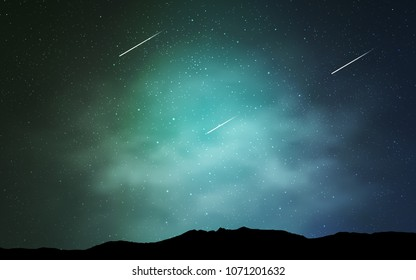 Light Blue, Green vector cover with astronomical stars. Blurred decorative design in simple style with galaxy stars. Pattern for astrology websites.