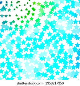 Light Blue, Green vector layout with bright stars. Blur decorative design in simple style with stars. Best design for your ad, poster, banner.