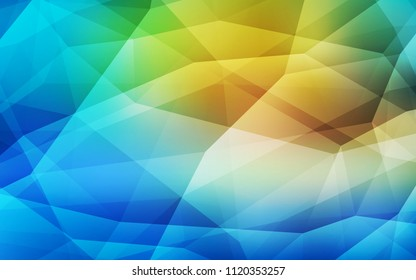 Light Blue, Green vector low poly layout. Shining polygonal illustration, which consist of triangles. Polygonal design for your web site.
