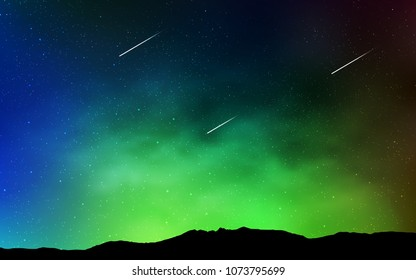 Light Blue, Green vector pattern with night sky stars. Shining illustration with sky stars on abstract template. Pattern for astrology websites.