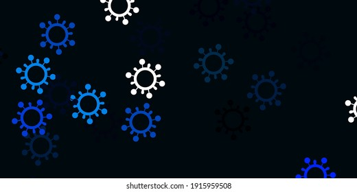 Light blue, green vector pattern with coronavirus elements. Abstract illustration with biological gradient shapes. Simple drawing against danger fever.
