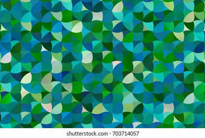 Light Blue, Green vector pattern with colored spheres. Geometric sample of repeating circles on white background in halftone style.