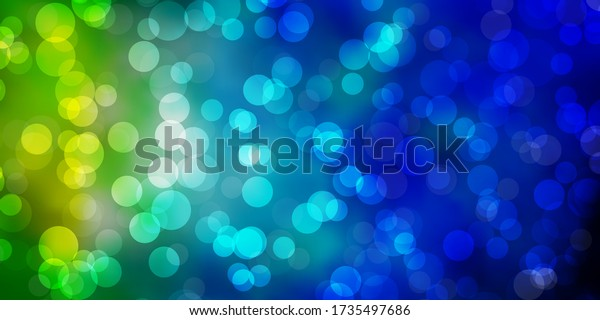 Light Blue, Green vector pattern with circles. Glitter abstract illustration with colorful drops. Design for posters, banners.