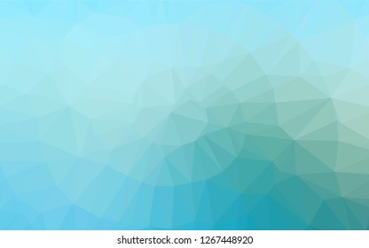 Light Blue, Green vector polygon abstract backdrop. Geometric illustration in Origami style with gradient.  The best triangular design for your business.