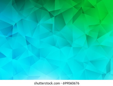Light Blue, Green vector polygon abstract background. Shining illustration, which consist of triangles. The textured pattern can be used for background.