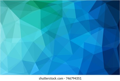 Light Blue, Green vector polygonal illustration, which consist of triangles. Triangular design for your business. Creative geometric background in Origami style with gradient