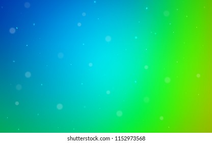 Light Blue, Green vector template with circles. Glitter abstract illustration with blurred drops of rain. New design for ad, poster, banner of your website.