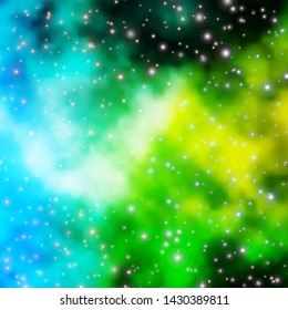 Light Blue, Green vector template with neon stars. Colorful illustration with abstract gradient stars. Best design for your ad, poster, banner.