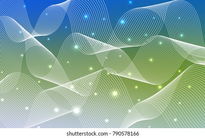 Light Blue, Green vector template with carnival confetti. Confetti on blurred abstract background with colorful gradient. The template can be used as a background for postcards.