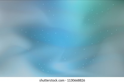 Light Blue, Green vector texture with milky way stars. Modern abstract illustration with Big Dipper stars. Pattern for astronomy websites.