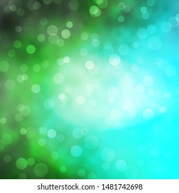Light Blue, Green vector texture with circles. Abstract decorative design in gradient style with bubbles. Pattern for business ads.