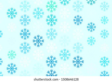 Light Blue, Green vector texture with colored snowflakes. Shining colorful illustration with snow on abstract template. New year design for business advert.