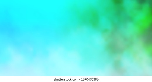 Light Blue, Green vector texture with cloudy sky. Abstract illustration with colorful gradient clouds. Colorful pattern for appdesign.