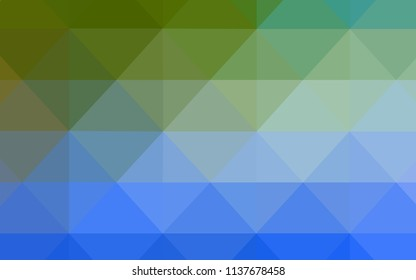 Light Blue, Green vector triangle mosaic texture. Polygonal abstract illustration with gradient. A completely new design for your leaflet.