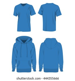 Light blue hoodie and t-shirt isolated vector set