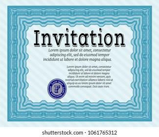 Light blue Invitation. With guilloche pattern. Vector illustration. Good design.