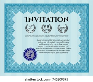 Light blue Invitation template. Beauty design. Customizable, Easy to edit and change colors. Printer friendly.