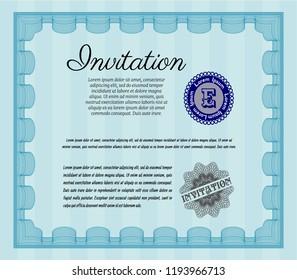 Light blue Invitation template. Money design. Easy to print. Vector illustration.