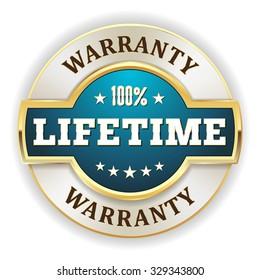 Light blue lifetime warranty badge with gold border on white background