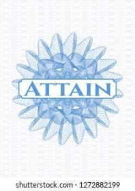 Light blue linear rosette with text Attain inside