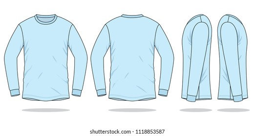 Light Blue long sleeve t shirt vector (Front,back and side views)