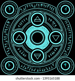 light  blue magic incantation circle with fantasy alphabets spell (named Fotonth) and four elemental alchemist symbol (earth water wind fire) on black background