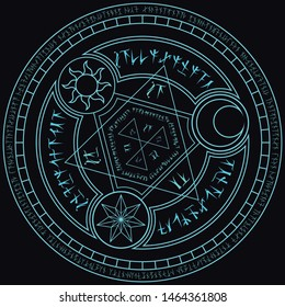 light blue magic incantation circle with fantasy alphabets spell (named Fotonth) and symbol of sun moon star on black background