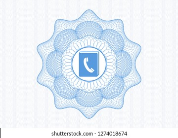 Light blue money style rosette with phonebook icon inside
