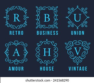 Light Blue Monogram Logos Set Graphic Design on Dark Gray Background. Emphasizing Retro Business union  Amour House and Vintage Concepts.