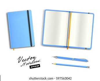 Light blue open and closed copybook template with elastic band and bookmark. Realistic stationery cerulean blank  pen and azure pencil. Notebook Vector illustration isolated on white background.