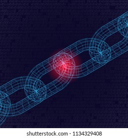 Light blue outline 3d chain with red weak point isolated on black background