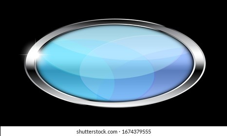 Light blue oval background with a shiny silver frame. Vector illustration
