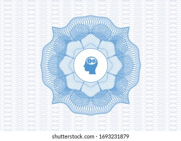 Light blue passport money rosette. with head with gears inside icon inside
