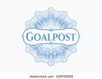 Light blue passport money style rossete with text Goalpost inside