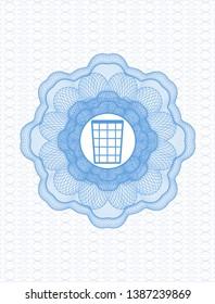 Light blue passport rosette with wastepaper basket icon inside