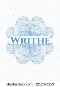 Light blue passport rossete with text Writhe inside