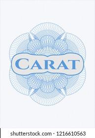Light blue passport rossete with text Carat inside